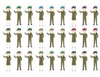 Sistema de hembras y de varones de los soldados de la historieta con los sombreros en diversos colores ilustración del vector