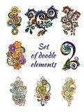 Sistema de Henna Paisley Mehndi Doodle Element Imagenes de archivo