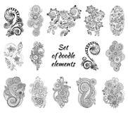 Sistema de Henna Paisley Mehndi Doodles Element Fotografía de archivo