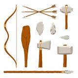 Sistema de herramientas antiguo aislado en el fondo blanco Búsqueda y hombre prehistórico del arma militar Herramienta primitiva  libre illustration