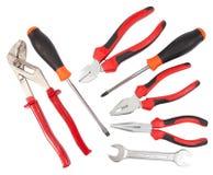 Sistema de herramientas (con las trayectorias de recortes) Foto de archivo libre de regalías