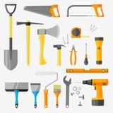 Sistema de herramientas de la construcción en el fondo blanco Foto de archivo libre de regalías
