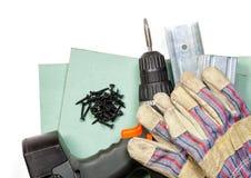 Sistema de herramientas de la mampostería seca en el fondo blanco Fotografía de archivo libre de regalías