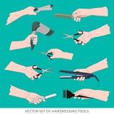 Sistema de herramientas de la peluquería Fotos de archivo