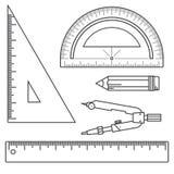 Sistema de herramientas de medición: reglas, triángulos, prolongador, lápiz y pares de compases Instrumentos de la escuela del ve Foto de archivo