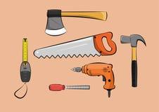 Sistema de herramientas de trabajo de madera de la construcción del carpintero Imágenes de archivo libres de regalías