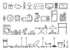 Sistema de herramientas del hogar y de la forma de vida y objetos en el esquema Art Style Clip art Editable Imagen de archivo libre de regalías