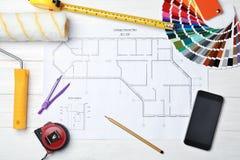 Sistema de herramientas del ` s del decorador en el dibujo del proyecto imagen de archivo