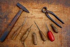sistema de herramientas del zapato del vintage Imagen de archivo libre de regalías