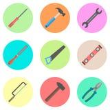 Sistema de herramientas en los círculos coloreados Imágenes de archivo libres de regalías