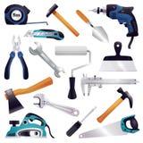 Sistema de herramientas de la carpintería de la renovación de la construcción ilustración del vector