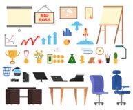 Sistema de herramientas de la oficina Colección de icono del negocio stock de ilustración