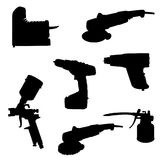 Sistema de herramientas de la silueta ilustración del vector