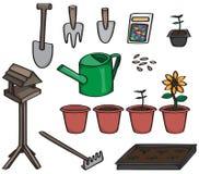 Sistema de herramientas que cultivan un huerto de la historieta Imagen de archivo