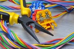 Sistema de herramientas y de cables eléctricos Imagenes de archivo