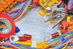 Sistema de herramientas y de cables eléctricos Foto de archivo