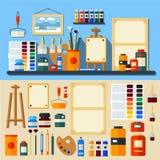Sistema de herramientas y de materiales para la creatividad ilustración del vector