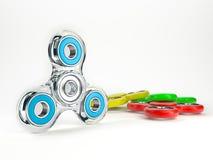 Sistema de hilanderos coloridos de la persona agitada Imagen de archivo libre de regalías