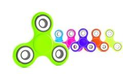 Sistema de hilanderos coloridos de la persona agitada Fotos de archivo