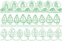 Sistema de hileras de árboles Imagenes de archivo