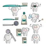 Sistema de historietas del diente stock de ilustración