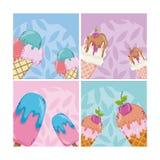 Sistema de historietas del helado libre illustration