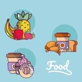 Sistema de historietas de la comida stock de ilustración