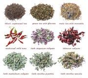 Sistema de hojas de té secas y de hierbas aisladas en un fondo blanco Imagen de archivo