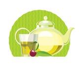 Sistema de hojas de té verdes, tetera, taza, vidrio Imagen de archivo