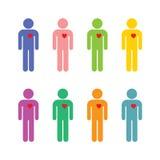 Sistema de hombres en diversos colores con un corazón dedicado Fotografía de archivo
