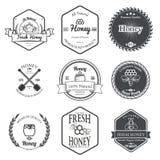 Sistema de Honey Labels Design Elements Vector stock de ilustración
