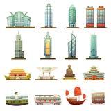 Sistema de Hong Kong Landmarks Transportation Icons Imágenes de archivo libres de regalías