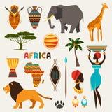Sistema de iconos étnicos africanos del estilo en estilo plano