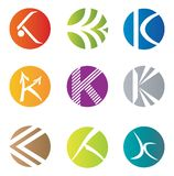 Sistema de 9 iconos abstractos de la letra de K - elementos decorativos Imágenes de archivo libres de regalías