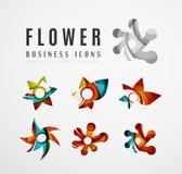 Sistema de iconos abstractos del negocio del logotipo de la flor Fotografía de archivo