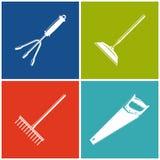 Sistema de iconos agrícolas coloreados Imagenes de archivo