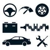 Sistema de iconos azules del servicio del coche Fotografía de archivo