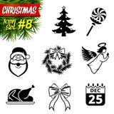 Sistema de iconos blancos y negros de la Navidad Fotografía de archivo