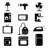 Sistema de iconos caseros electrónicos stock de ilustración