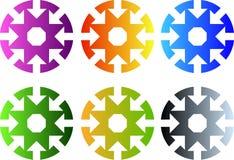 Sistema de iconos circulares con ocho flechas a centrarse libre illustration