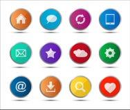 Sistema de iconos coloreados del web de la navegación Imágenes de archivo libres de regalías
