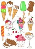 Sistema de iconos coloridos aislados del helado Fotografía de archivo libre de regalías