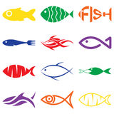 Sistema de iconos coloridos creativos de los pescados Foto de archivo libre de regalías