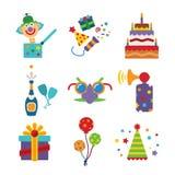 Sistema de iconos coloridos de la celebración del vector en estilo plano Imágenes de archivo libres de regalías