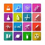 Sistema de iconos coloridos de la ciencia Imágenes de archivo libres de regalías