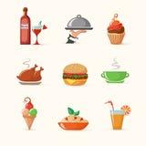 Sistema de iconos coloridos de la comida Fotografía de archivo libre de regalías