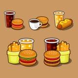 Sistema de iconos coloridos de los alimentos de preparación rápida de la historieta. Fotografía de archivo