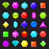 Sistema de iconos coloridos de piedras preciosas, de diamantes y de cristales Vecto Ilustración del Vector