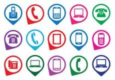 Sistema de iconos coloridos del artilugio Imagenes de archivo
