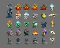 Sistema de iconos coloridos del feliz Halloween ilustración del vector